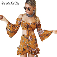 DeRuiLaDy Boho Floral Print Two Piece Suits Women Flare Sleeve Irregular Mini Skirt Suit Casual Summer