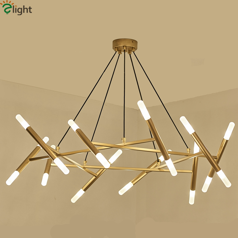 Lights & Lighting New Arrival Led Pendant Light Crystal Rods Hanging Lamp For Dinning Room Gold Circle Suspension Lamparas Lustres Abajur