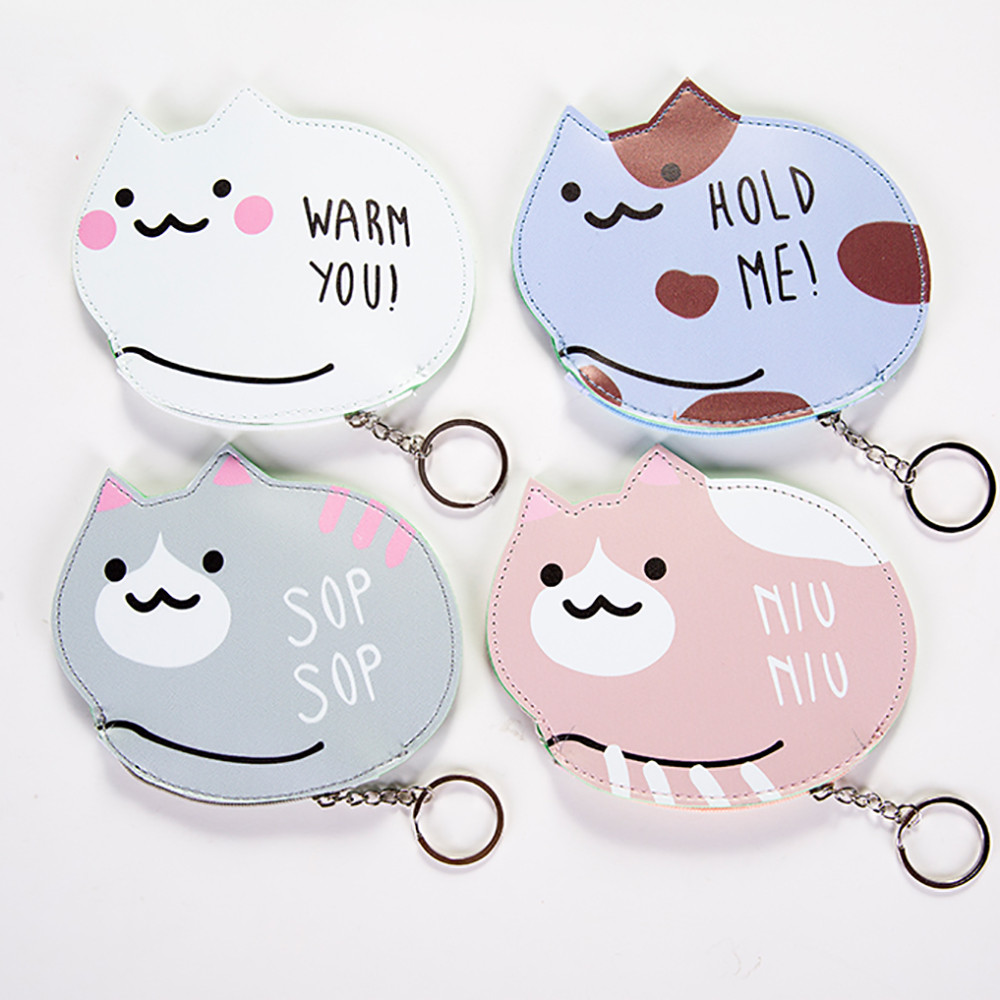 Fashion Hot Girls Cute Cat shape Snacks Coin Purse Wallet Bag Change Pouch Key Holder Change Purse Money Bag Small Pocket 2017 new fashion women owl cute pu leather change purse wallet bag girls coin card money pouch portable purse small bag jan12