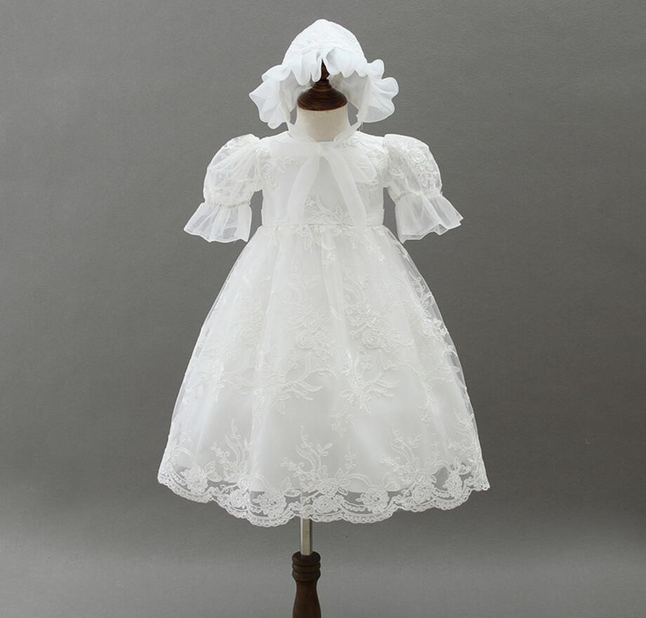 1PC with Hat Off White Short Sleeve Baby Girl Baptism Christening Long Long Gown Dress Bowknot Baby Girls Party Dress 0-24Months flare sleeve cut out bowknot mini dress