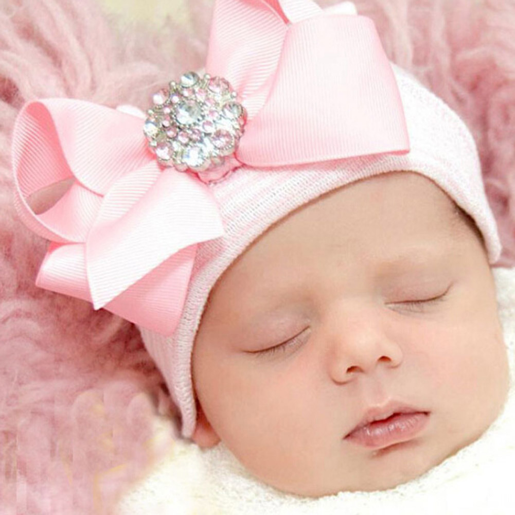 New 2016  Freeshiping Pink Bowknot Sparkling Striped Knit Hat Pink  Baby Newborn Hat