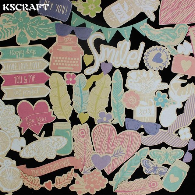 KSCRAFT 100 piezas de cartulina unids de colores troquelado para Scrapbooking planificador feliz/hacer tarjetas/proyecto de diario
