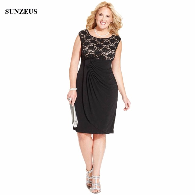 Knee Length Black Mother Of The Bride Dress Lace Cap Sleeve Women