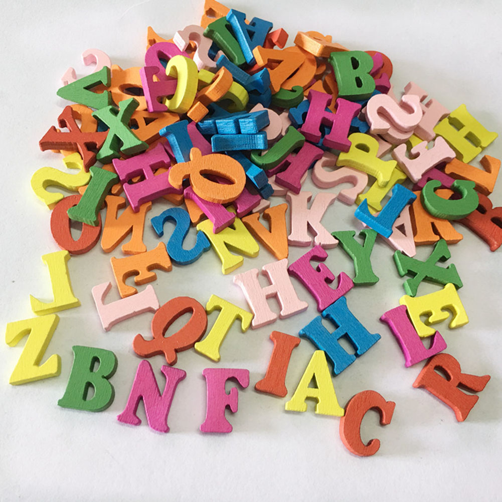 100Pcs Colorful Letters Button Cute Painted Buckles DIY Handmade Craft Scrapbooking Sewing Supplies Clothes Accessories Wooden
