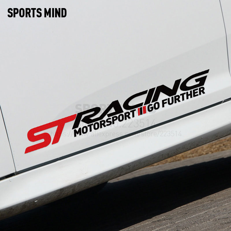 3 Pairs SPORTS MIND ST RACING Car Stickers Door sticker For ford focus 2 mk2 fiesta mondeo ranger fusion kuga car accessories