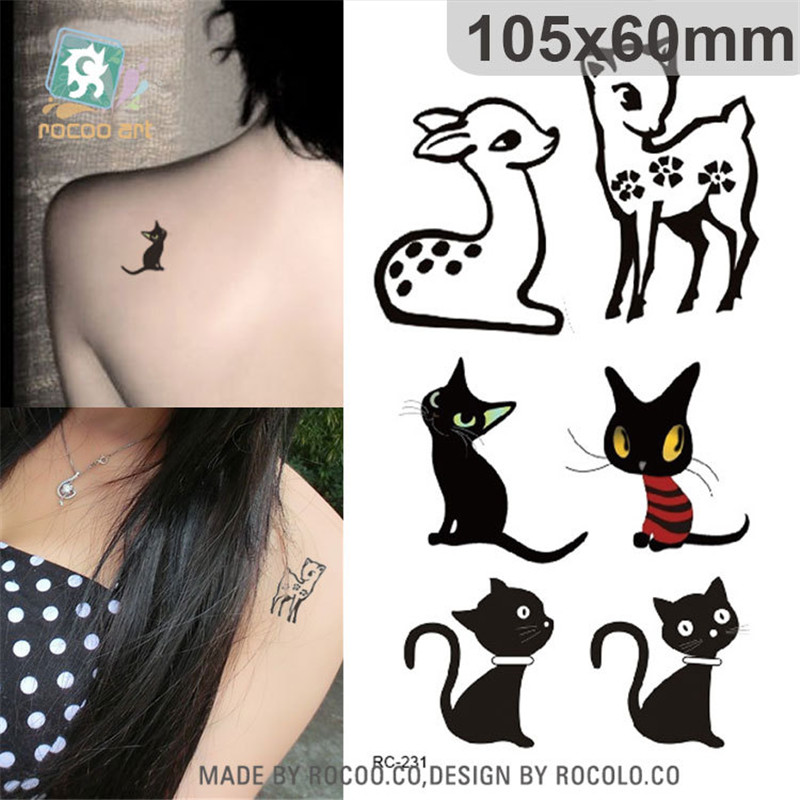 Harajuku Waterproof Temporary Tattoos For Lady Women Lovely 3d Animal Cat Deer Design Tattoo Sticker Free Shipping RC2231
