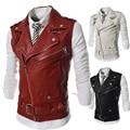 Personalized Oblique Zipper Vest 2016 New Short Slim Fit Casual Vest Men Motorcycle Leather Waistcoat Black Red White