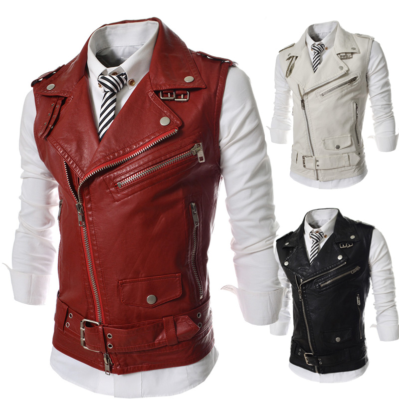Personalized Oblique Zipper Vest 2017 New Short Slim Fit Casual Vest Men Motorcycle Leather Waistcoat Black Red White