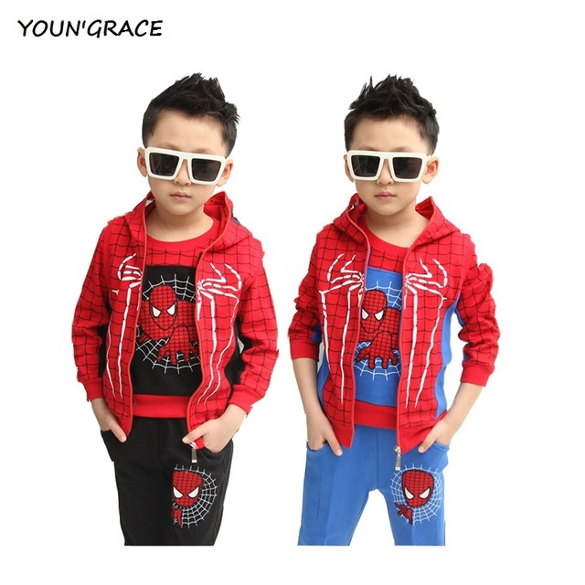 2016 New Design Children 3Pcs Spiderman Winter Suit Boys Sports Suit Fashion Children Spring Spiderman Tracksuit for Boys, C049