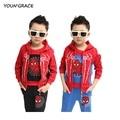 2016 nova crianças 3 Pcs Spiderman inverno meninos terno crianças moda primavera homem treino para meninos, C049