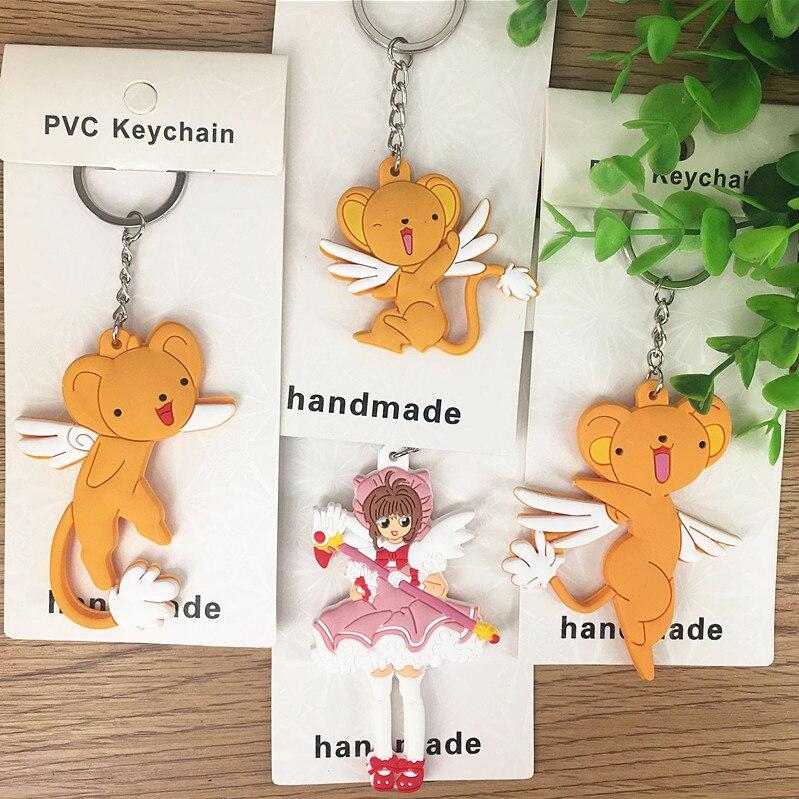 10 pcs/lot Cardcaptor Sakura magic stick PVC Keyring Keychain Pendants Toy gifts