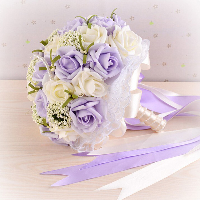 2016 Beautiful Purple Wedding Bouquet All Handmade Bridal Flower Wedding Bouquets Artificial Pearls Flower Rose Bouquet