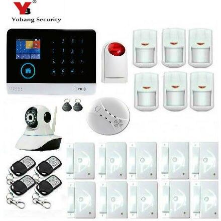 Yobang безопасности Android IOS APP Управление Камеры Скрытого видеонаблюдения 3G WI FI сигнализация с метки rfid мерцающий сирена дыма пожарной сигнализ