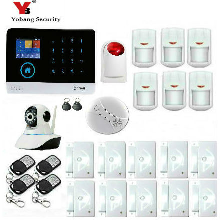 Yobang Security Android IOS App Control Surveillance Camera 3G WIFI Alarm With RFID Tags Strobe Siren Smoke Fire Alarm Kits