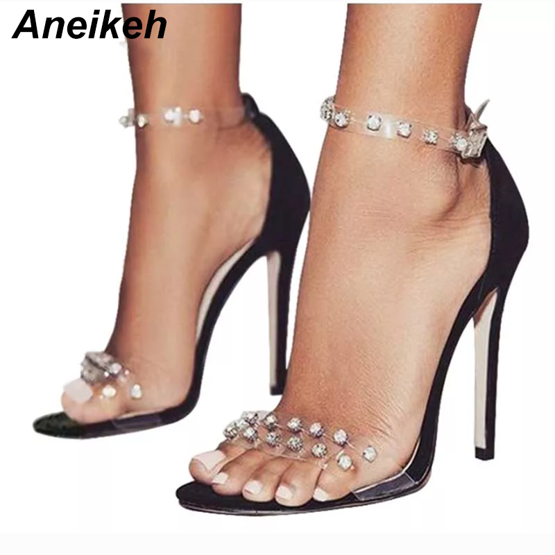 ce0b3d0221f1 Aneikeh 2018 new Summer Roman Transparent Rivet Women shoes Sexy High Heels  Fashion Solid color Peep