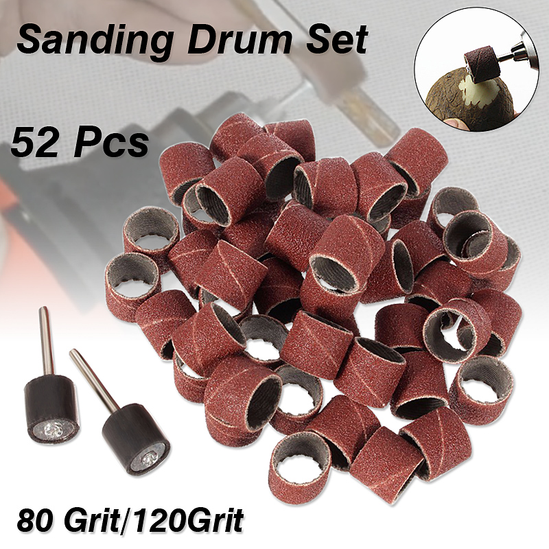 52pcs/Set Sanding Drum 50pcs 1/2 Inch Sanding For Band And 2pcs Rubber Mandrels Great For Carving Etching Grinding Etc