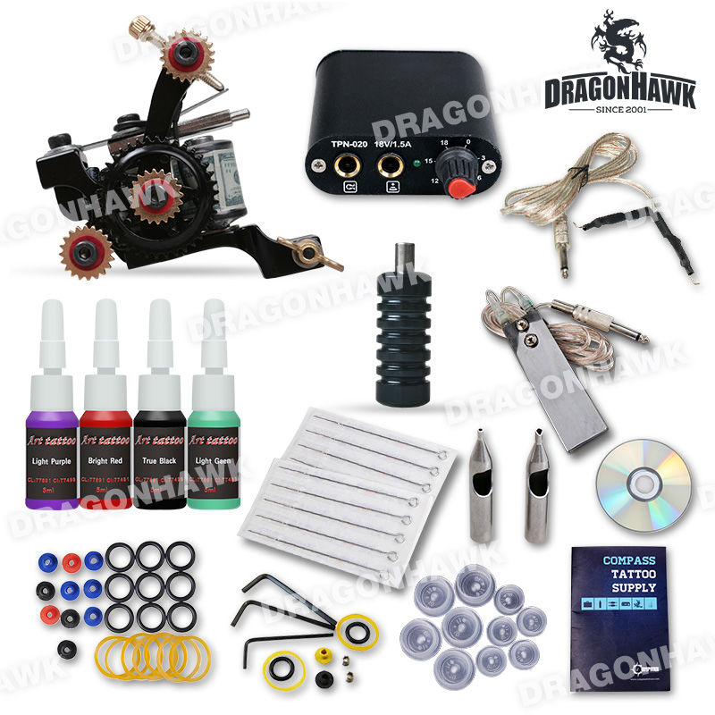 Complete Beginner Tattoo Kit Machine Guns Inks Needles Tattoo Power Supply D1025GD-7 beginner tattoo kit 1 machine gun 4 inks needles tattoo power supply d1025gd 2