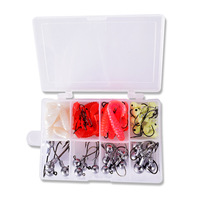 UCOK 71pcs Box Kit Rock Sea Lure Fishing Lead Head Hook Single Tail Soft Worm Lure