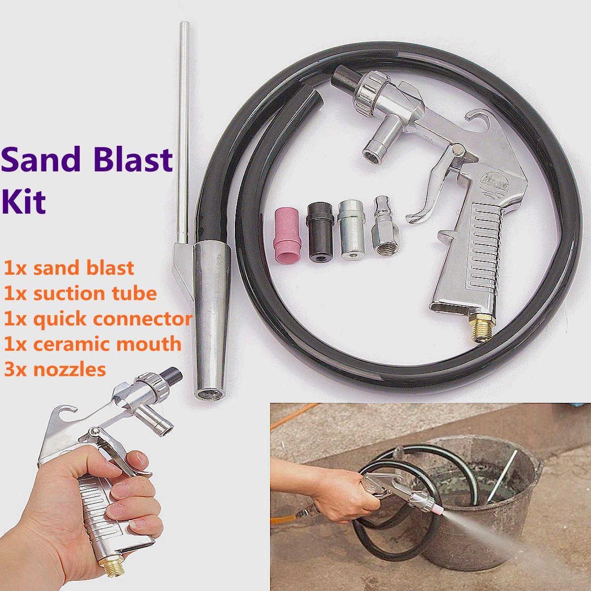 7 шт. абразивный воздушный Пескоструйный пистолет комплект 1 керамическое сопло 1 стальное сопло 1 всасывающая труба для песка промышленный Пескоструйный пистолет