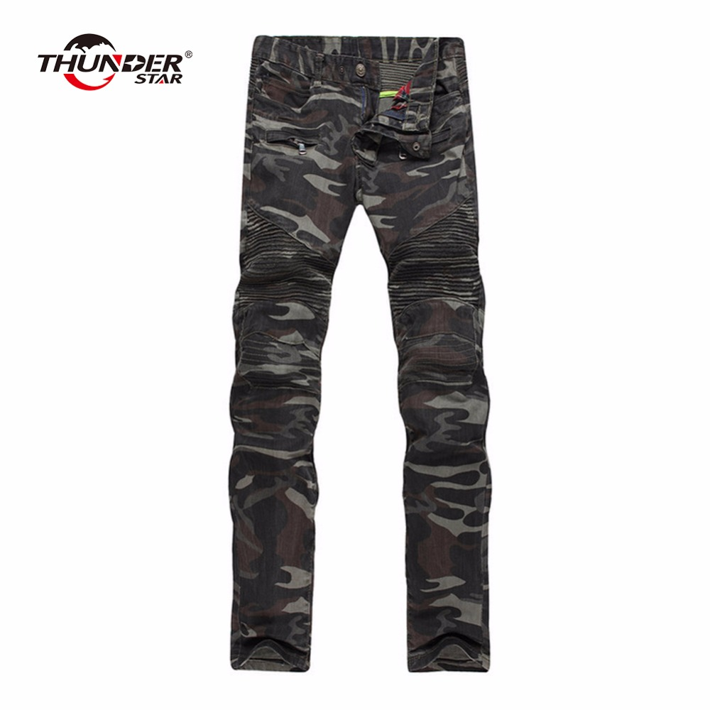 ФОТО THUNDER STAR fashion men slim military style casual pants Camouflage military multi-pocket skinny pencil zipper army overalls