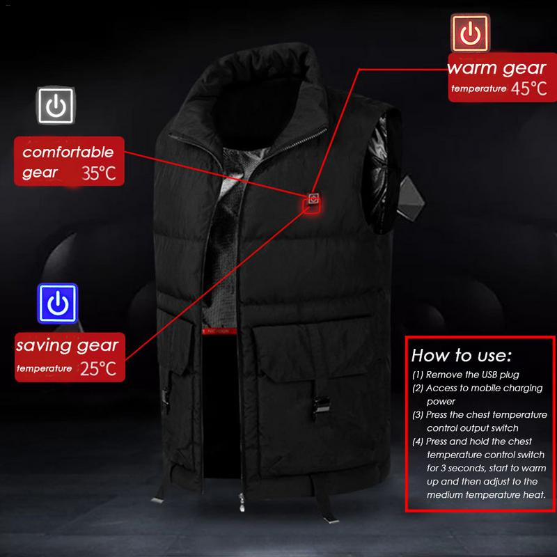 Adjustable USB Charging Heated Clothing Men Electric Battery Powered Heated Vest Rechargeable Gilet For Sports Outdoors Ski Vest