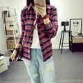 2016 Новых Женщин Рубашки топы Хлопок Клетчатую Рубашку Женщина Основные Студент женщин С Длинными рукавами Блузки Хорошее качество M-XL размер