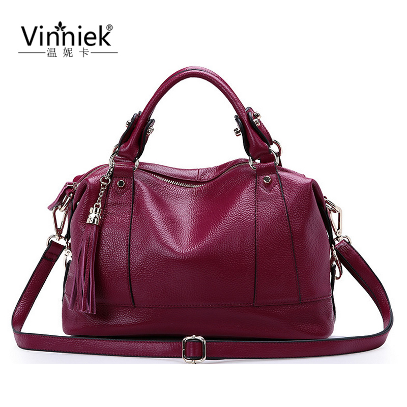 100% Genuine Leather Women Bag Large Shoulder Bags Famous Brands Handbags Luxury Cowhide Boston Vintage Tassel Messenger Bag sac new genuine leather bags for women famous brand boston messenger bags handbags tassel tote hand bag woman shoulder big bag bolso