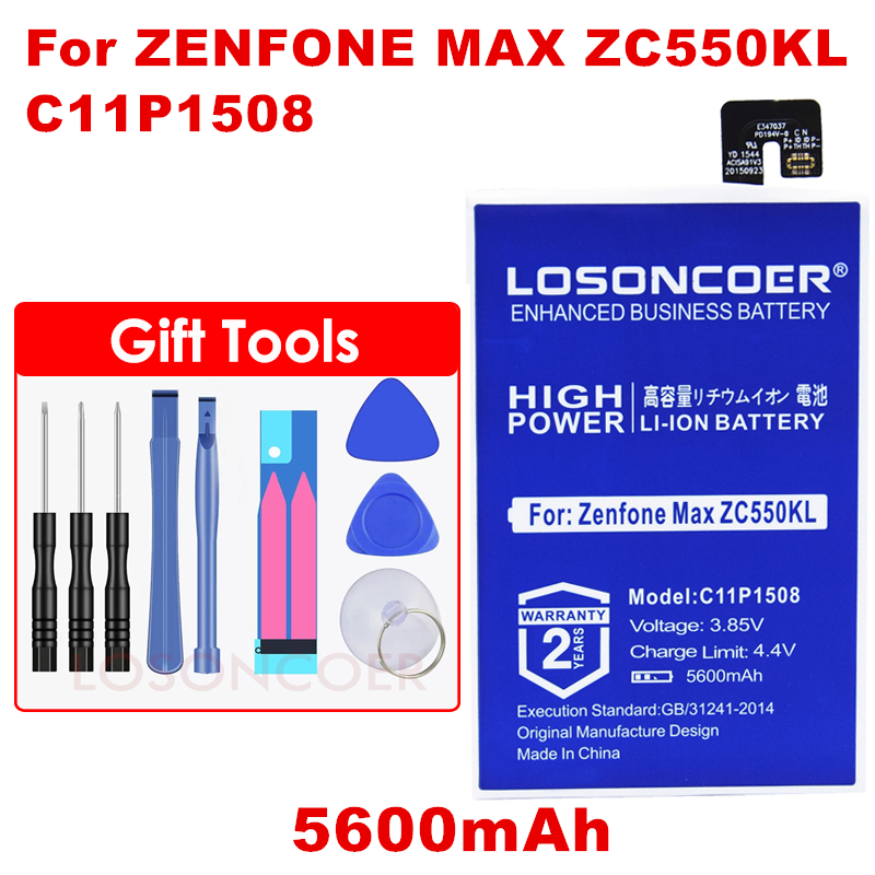 Losoncoer 5600mah C11p1508 High Quality Battery For Asus Zenfone Max 5000 5000z Zc550kl Z010ad Z010dd Z010da C550kl Battery For Sale Mobile Phone Parts Cellphones & Telecommunications