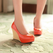 Drop shipping  fashion sexy patent leather high heels women platform wedge heel shoes