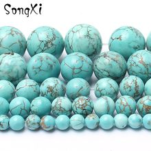 1b068ed9442f Piedra Natural azul turquesas suave perlas redondas para hacer joyería 4 6 8  10 12mm DIY collar pulsera joyería 15