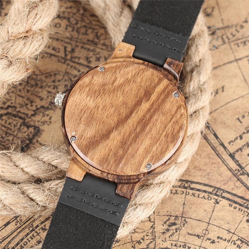 Creative Bamboo Wood Watch Naturligt Svart Läderband Minimalist - Herrklockor - Foto 5
