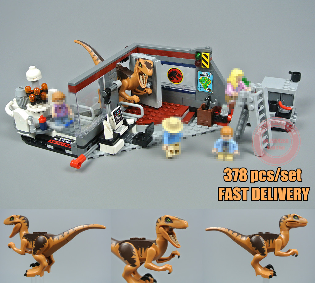 New Jurassic Velociraptor Chase fit legoings Jurassic World park city 75932 figures model Building Block Bricks diy Toy Gift kid