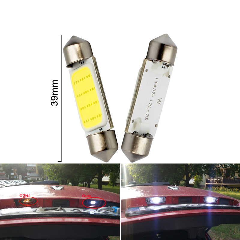 1x c10w c5w led cob festão 31mm 36mm 39mm 41/42mm 12 v lâmpadas brancas para carros luz de leitura interior da placa de licença 6500 k 12smd