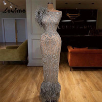 Illusion Feather Formal Evening Gown Arabic Evening Dresses 2018 New Design Muslim Dubai Turkish Party Gowns Robe De Soiree Dres