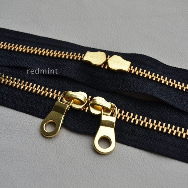5   gold and copper double-tail closed black YKK metal zipper leather bag  for 142232e4a
