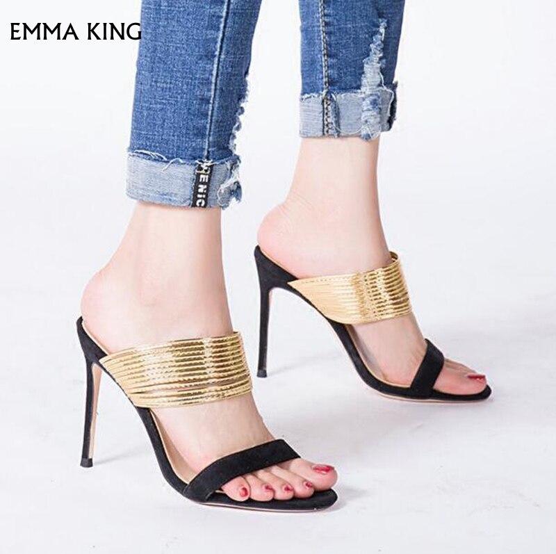 Oro As Moda as Gamuza Sexy 43 Fiesta Pic Damas Alto Tacón En Zapatos Mujer Sandalias Pic Rey De 35 Emma Vestido Resbalón Correas gwqHPSx5