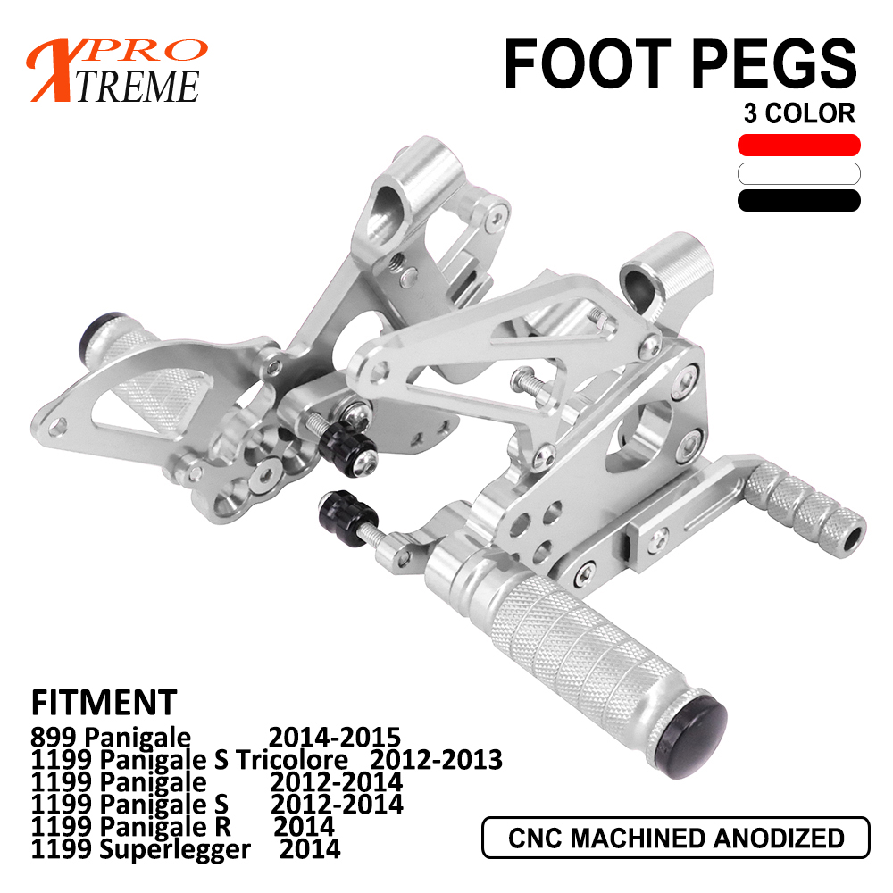 Motorbike Elevated CNC Aluminum Foot Pegs Footrests Foot Rest For 899 1199 Panigale S Panigale R Superlegger  2012 2013 2014Motorbike Elevated CNC Aluminum Foot Pegs Footrests Foot Rest For 899 1199 Panigale S Panigale R Superlegger  2012 2013 2014