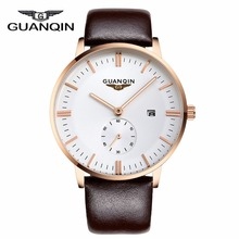 Men Watches New Luxury Brand GUANQIN Genuine Leather Clock Male Waterproof Casual Sport Watch Men Wrist