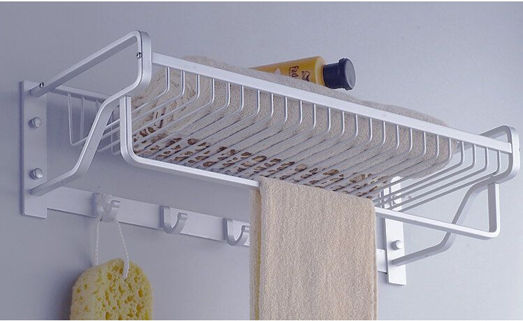 Free shipping 58cm Aluminum towel rack single bar bathroom basket  bathroom accessories cloth rack multifunction rack hooks lengthened thickening bathroom towel bar single lever rack free nail