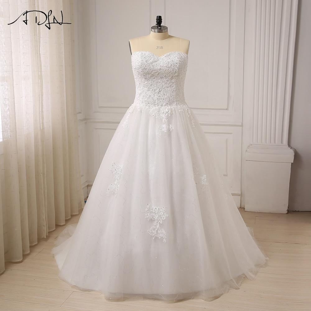 ADLN Cheap Plus Size Wedding Dress for Big Women Sweetheart Sleeveless Applique Beaded Sequin A line