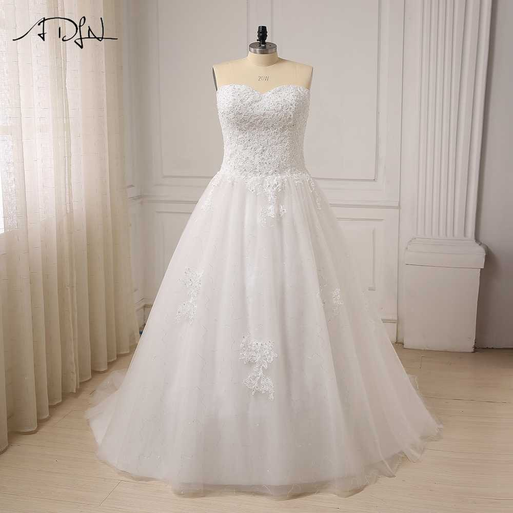 ADLN Cheap Plus Size Wedding Dress for Big Women Sweetheart Sleeveless Applique Beaded Sequin A-line Bridal Wedding Gowns