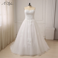 ADLN Cheap Plus Size Wedding Dress For Big Women Sweetheart Sleeveless Applique Beaded Sequin A Line