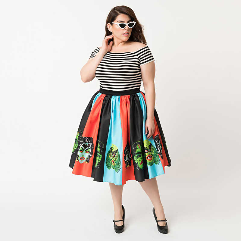 a1f6af2a15 Vintage Retro Style Skirts Women Halloween Themed Clothing Spooky Patterns  Bat Spiders Pumpkin Print Swing Skirts