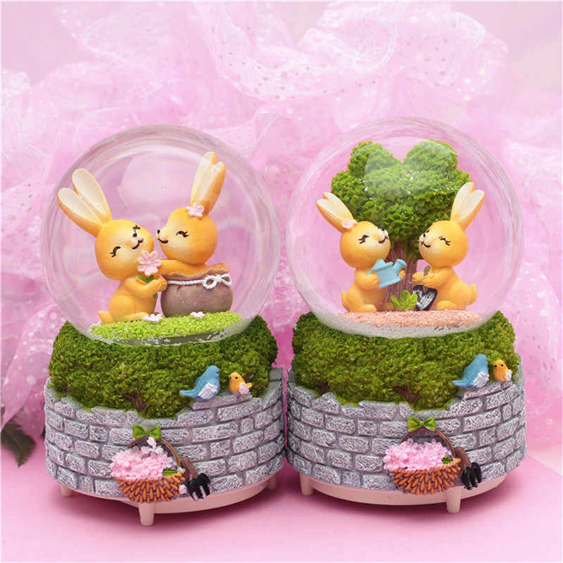 Snow Globe Music Box Luck Rabbit Lover Crystal Ball With Light Home Bedroom DIY Decoration Easter Valentine's Day Birthday Gifts
