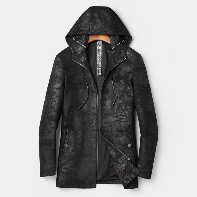 eb02f037a 2018 New Real Leather Suede Jacket Hood Men Genuine Leather Coat Vintage  Black Leather Jacket Long Fashion Leather Jacket Hooded