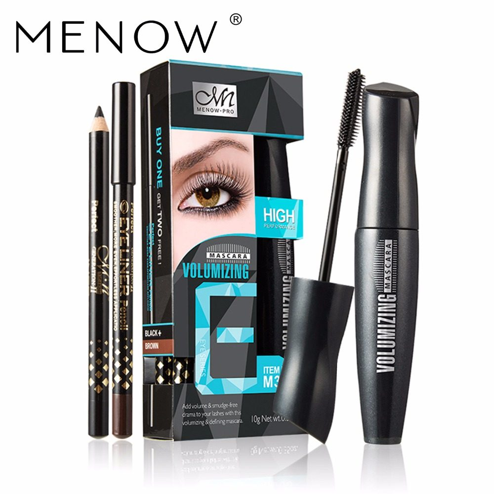 Online Shop 3pcs Set Menow Makeup Brand Waterproof Mascara Kit Inez Lash Lengthening Black Maskara 1pcs Two Eyelinr Extend Eyelashes Curling Thick Lasting Eye Cosmetics