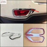 JanDeNing 2 Pçs/set Para Jeep Grand Cherokee 2011-2014 ABS cromado Traseiro Nevoeiro Tampa Da Lâmpada Guarnição Quadro emblemas