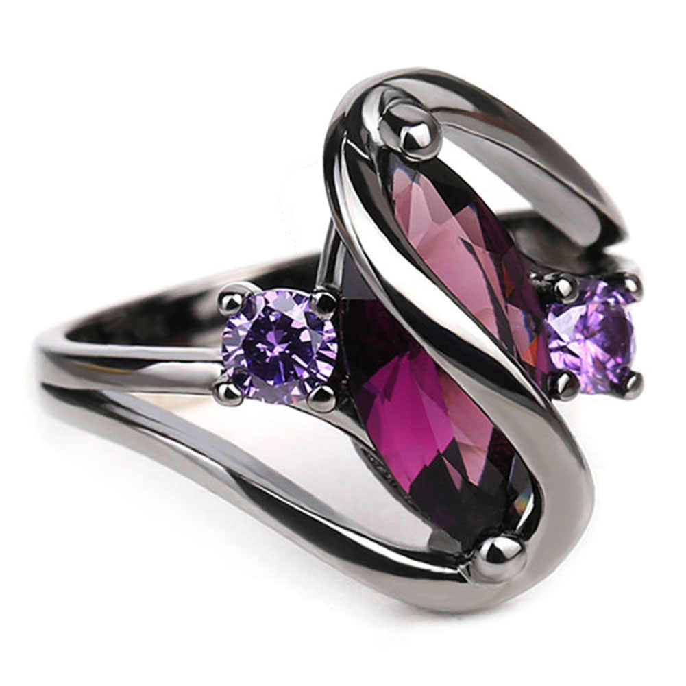 Trendy Pink Engagement Wedding Rings Wanita Horse Eye Cz Hitam Emas Rings Partai Perhiasan Anillos Bague Femme