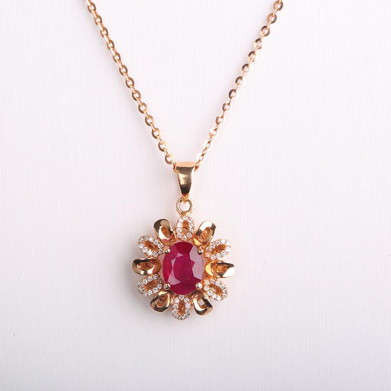 Robira Ruby Jewelry AU750 Rose Godl Flowers Shape Vintage Diamond  Decoration Pendant Necklaces for Women Luxury Pendants e2f1dd78d0