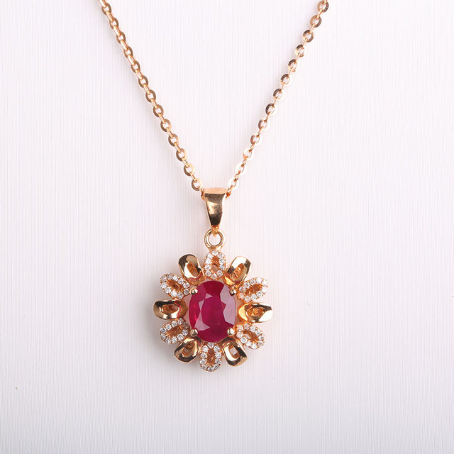 Robira ruby jewelry au750 rose godl flowers shape vintage diamond robira ruby jewelry au750 rose godl flowers shape vintage diamond decoration pendant necklaces for women luxury mozeypictures Gallery